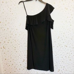 NWT MSK Black Ruffle One Shoulder Formal Dress